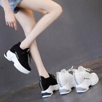 户外运动内增高小白鞋女百搭厚底网面透气时尚休闲运动