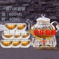 红兔子耐热过滤玻璃茶壶套装功夫茶具南瓜条纹壶600ML高硼硅玻璃花茶壶 耐热加厚条纹泡茶壶玻璃内胆