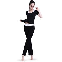 健身瑜伽服三件套 运动跑步舞蹈服套装 黑色 L码