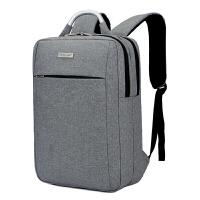 电脑包双肩包15.6寸14寸男士商务背包韩版手提休闲女书包 1082灰色送锁 14寸