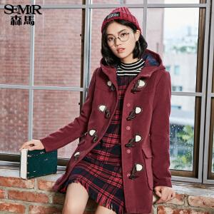 森马中长款毛呢外套 冬装 女士连帽毛呢大衣夹棉外套韩版