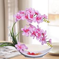 6蝴蝶兰仿真花套装假花娟花干花陶瓷花瓶客厅餐桌摆件装饰装饰花艺