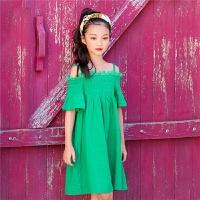 儿童夏天裙子中大童压皱棉吊带短袖连衣裙公主女童海边度假沙滩裙