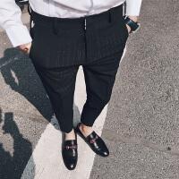 夏季薄款修身条纹小脚休闲西裤男士韩版潮流发型师修身九分裤男潮