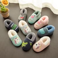 儿童时尚棉拖鞋男童1-3岁2秋冬宝宝包跟可爱小孩室内女童家居防滑拖鞋