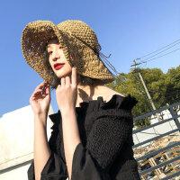百搭休闲草帽女 户外出游大沿帽遮脸防晒帽子 沙滩帽子海边太阳帽女