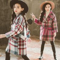 秋冬装中大童时尚中长款加厚格子毛呢外套潮女童呢大衣