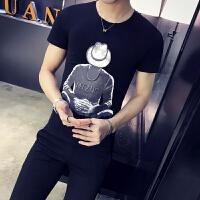 男士短袖T恤2018新款春夏男装半袖体恤印花圆领半截袖韩版修身潮