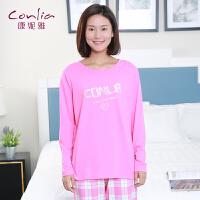 康妮雅2016春季新款家居服 女士品牌logo印花长袖睡衣套装