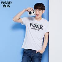 森马短袖T恤 夏装 男士纯棉字母印花直筒针织衫韩版潮款