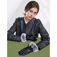 真皮手套女士保暖加厚加绒獭兔毛口户外运动防寒触屏羊皮骑行开车