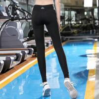 健身裤女弹力紧身高腰提臀运动长裤高弹收腹外穿跑步裤速干瑜伽裤 黑色 H72 镶条带健身裤 X