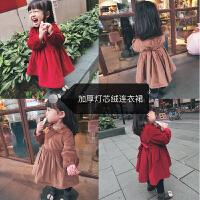 儿童裙子秋冬新款绑带收腰加厚公主裙女童宝宝加绒连衣裙