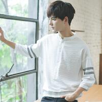 短袖衬衫男宽松韩版学生潮流七分袖白衬衣立领夏季大码休闲上衣