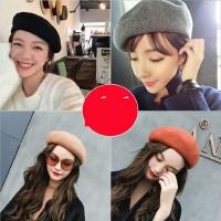 百搭潮英伦软妹画家帽子 日系羊毛贝雷帽女 韩版纯色女士南瓜帽蓓蕾帽子