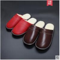 冬季居家牛皮拖鞋男女情侣款保暖棉拖鞋室内防滑包头拖鞋