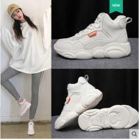 新款冬季高帮加绒老爹小白鞋女韩版网红运动鞋ins小熊鞋百搭