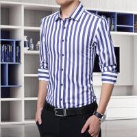男士衬衫男长袖修身夏季韩版休闲潮流百搭帅气薄款纯棉条纹衬衣寸