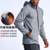 保暖健身服男上衣宽松夜跑衣运动灰色篮球训练衣服热身服连帽卫衣