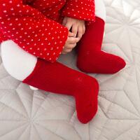 婴儿满月周岁本命年儿童棉袜礼盒秋冬新年大红宝宝保暖袜子