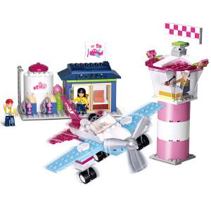 【当当自营】小鲁班新粉色梦想女孩海豚湾系列儿童益智拼装积木玩具 海豚湾机场M38-B0608