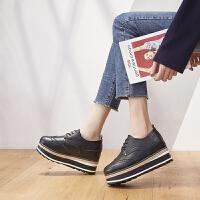 ZHR2017欧美复古风厚底增高女鞋布洛克印花平底鞋松糕单鞋内增鞋H86