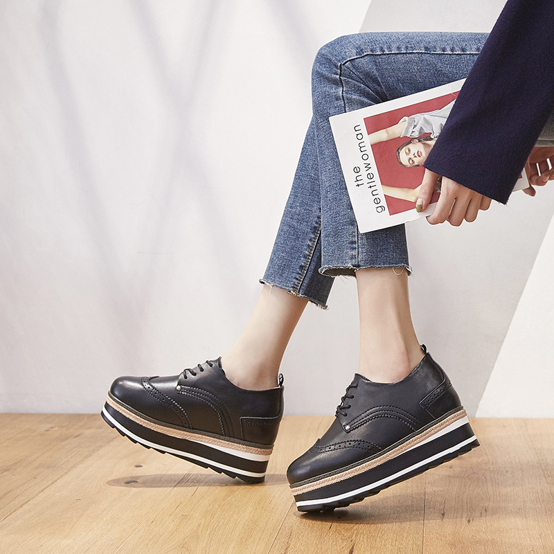 ZHR2018春季新款厚底松糕鞋内增高女鞋真皮休闲鞋英伦风平底单鞋H86包邮 专柜同款 拍下满减 支持货到付款