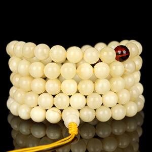 珍稀白蜜蜡圆珠108佛珠手链 直径8mm