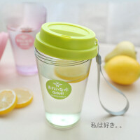 塑料带盖磨砂儿童学生便携水瓶 可爱卡通水杯创意随手杯子
