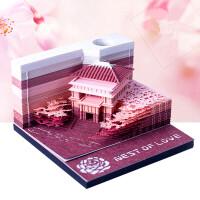 创意立体便签纸清水寺日本3D艺术建筑便利贴纸雕模型古风礼品