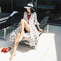 夏季外套女薄夏装2018新款韩版学生bf宽松百搭雪纺印花披肩开衫春