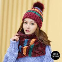 韩版时尚围巾女毛线帽女加厚保暖帽子女潮女帽百搭针织帽