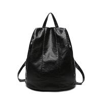 双肩包女士包包韩版个性百搭防盗软皮旅行包新款潮女小背包 黑色 小号现货