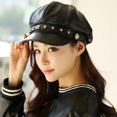 帽子女韩版潮铆钉八角帽贝雷帽百搭女士时尚鸭舌帽英伦pu皮帽