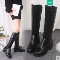 高筒靴女不�^膝冬季新款chic�R丁靴英���L粗跟�T士靴加�q�L靴