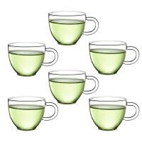 6只装80ML玻璃茶杯子 红茶杯功夫茶具玻璃小茶杯带把品杯透明品茗杯子耐热杯功夫夫茶具