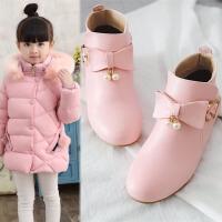 韩版蝴蝶结公主女童靴子秋冬儿童短靴9-15岁中大童学生马丁靴