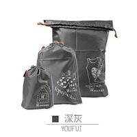 优芬旅行收纳袋套装 束口防水衣物收纳袋子三件套 多色可选 深灰