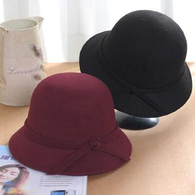 韩版女士黑色圆顶小礼帽 户外出游盆帽女渔夫帽 毛呢帽蝴蝶结渔帽子女 品质保证 售后无忧