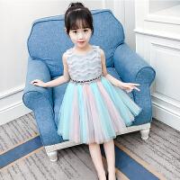 女童连衣裙夏装儿童蕾丝网纱裙小女孩公主裙夏洋气裙子潮