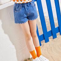 【2件3折:45】巴帝巴帝童装女童牛仔短裤2019春夏新款薄款外穿时尚热裤韩版