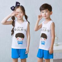 乌龟先森 儿童背心套装 男女童棉质圆领无袖卡通打底衫夏季韩版新款时尚休闲中小童款式两件套T恤套装