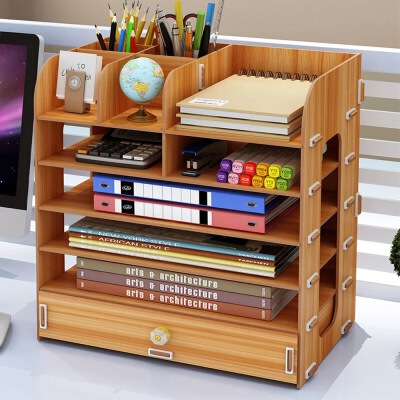 桌面收纳盒 办公桌面用品大号多层抽屉文件室杂物木质储物书桌置物架子