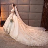 抹胸婚纱新娘公主梦幻大拖尾结婚长拖尾婚纱礼服