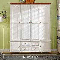 家具四�T衣柜地中海��木美式三�T�ξ�С槊遍g收�{柜整�w衣��