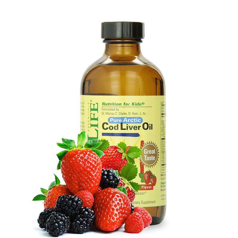 美国直邮/保税区发货 ChildLife童年时光 宝宝专用天然DHA鳕鱼油草莓味 VA 6个月以上 8oz/237ml 海外购