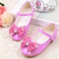 女童鞋春秋韩版蝴蝶结女童公主鞋软平底单鞋儿童演出皮鞋