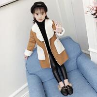 童装女童秋冬外套韩版中长款洋气加厚大衣中大儿童上衣潮