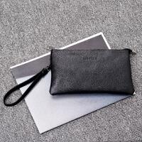 男士手拿包 多卡位拎包手腕包 软皮信封包手机包商务休闲手包 黑色