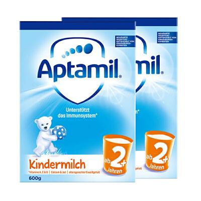 【2+普通】保税区发货 德国Aptamil爱他美 德爱普通婴幼儿奶粉 2+段(2岁以上)  600g*2罐 海外购 新老包装交替发货